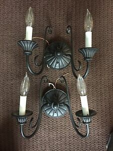 2 wall Sconces Black Finish