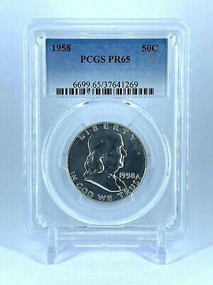 PR65 1958 PCGS GRADED FRANKLIN 90% SILVER HALF DOLLAR  PROOF COIN LOW START (Grading Franklin Half Dollars)