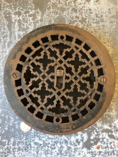 """Vintage Ornate Cast Iron Round Floor Grate Heat Register 7"""" Round"""