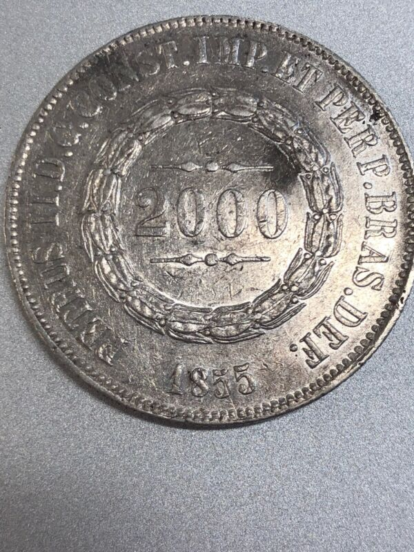 1855 Brazil 2000 Reis Large Silver Coin! Nice!(c42)