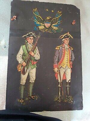 VINTAGE REVOLUTIONARY WAR GEORGE WASHINGTON SLATE 12 x 18 PAINTING