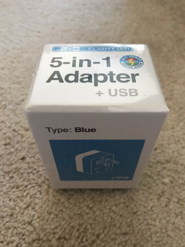 Flight 001 5-in-1 Travel Adapter with Dual USB Charger, New Unopened