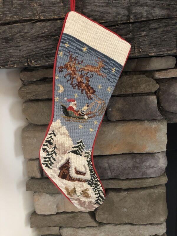 NOS Sferra Santa & Sleigh Wool Needlepoint Christmas Stocking