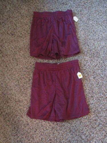 Lot of 2 NEW Vintage TEAMWORK 80s Youth Large YL Maroon Nylon Mesh Shorts