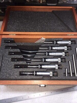 Starrett 436 Outside Micrometer Set 0 To 6. Wooden Case.