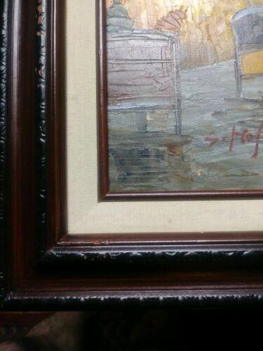 Original Oil Painting S. Hofner Signed French Street Vintage Art Impressionism  - $125.00