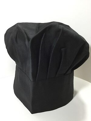 Black Chef Hat - Adult - Adjustable - Elastic - One Size