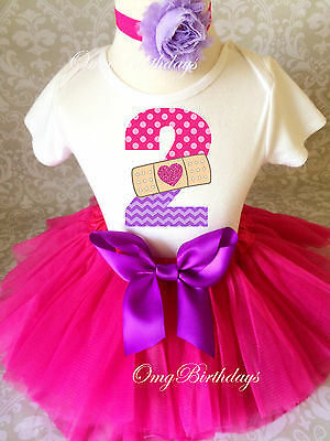 Doc Mcstuffins Birthday Outfit (Doc McStuffins Pink Purple 2nd Second Birthday Shirt Tutu Outfit Set Party)