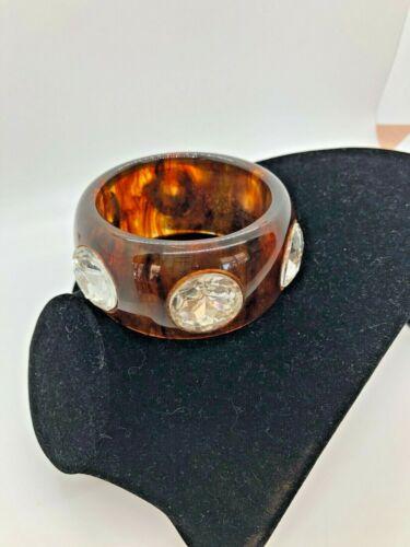 Vintage Amber Faux Tortoise Translucent Lucite Chunky Rhinestone Bangle Bracelet