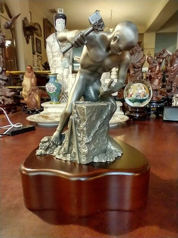 BEAUTIFUL MASONIC PEWTER SCULPTURE OF MY ROUGH ASHLER SIGNED BY ARTIST