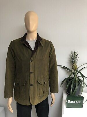 Barbour LUTZ Waxed Wax Cotton Smart Blazer Jacket Olive Green Mens Size Medium M