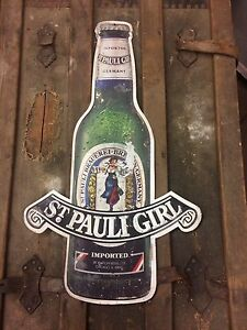 St. Pauli Girl German ale beer tin sign die cut breweriana