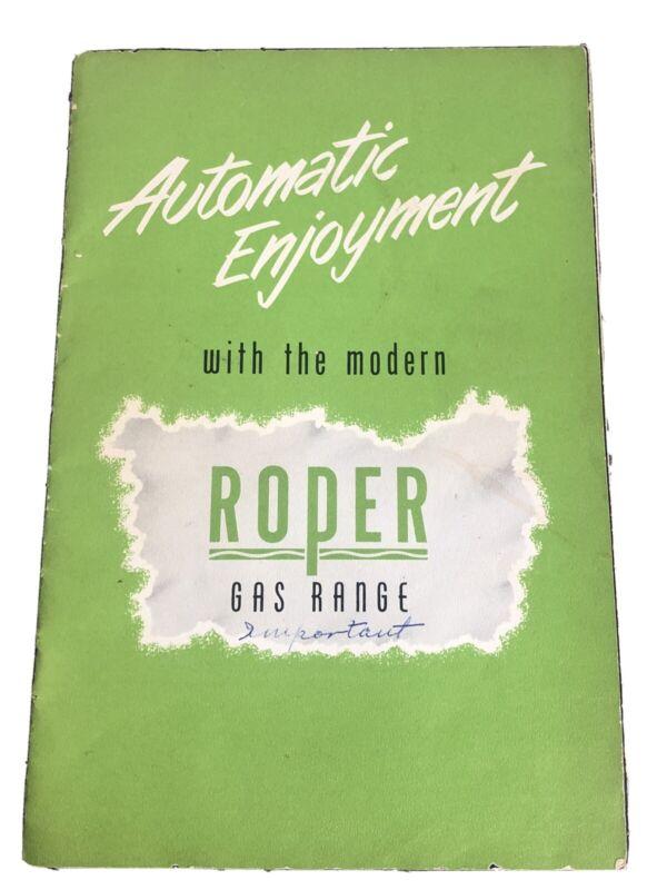 1951 Roper Gas Range Stove Manual