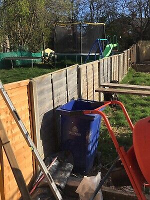 Overlap Waney-Edge Brown Fence Panel, Pack of 5 (6ft x 4ft) Garden Fencing