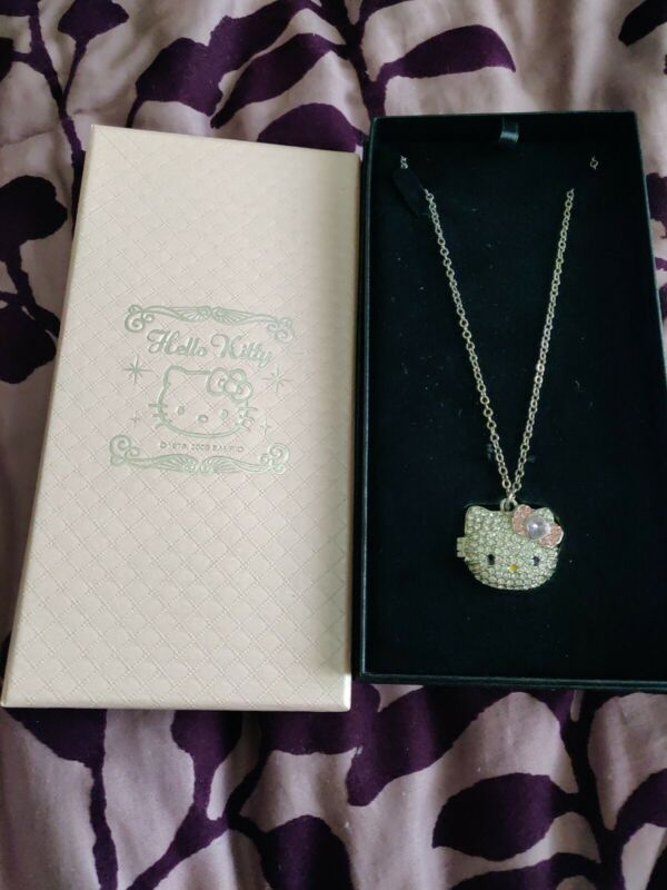 Hello Kitty Crystals Face Locket Necklace 2009 Sanrio