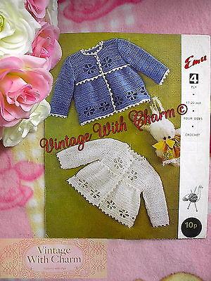 (Vintage Crochet Pattern Baby's Contrast & Plain Matinee Coat.  FREE UK P&P!!)