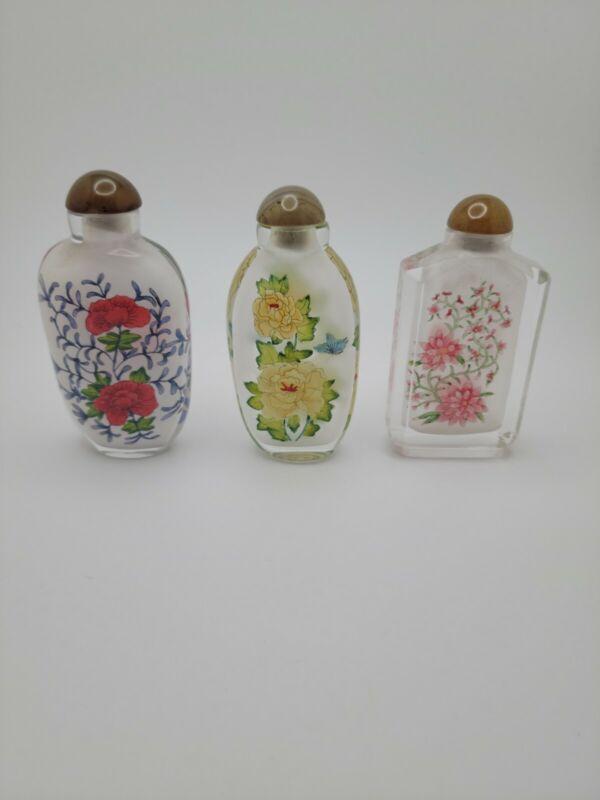 Set Of 3 Chinese Li Bien reverse painted snuff bottles