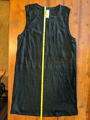 Fabletics Dress Size XL Black Mesh Nude Lining Sleeveless Mini Stretch NWOT