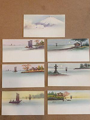 Original Vintage Lot Of 7 Paper Table Place Cards  Orient Landscapes  3 X 1 5