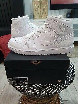 Nike Air Jordan 1 Mid Triple White UK11 US12 EU46 Brand New