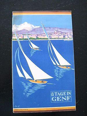 alter Reiseführer mit 2 Karten 8 Tage Genf Schweiz um 1930