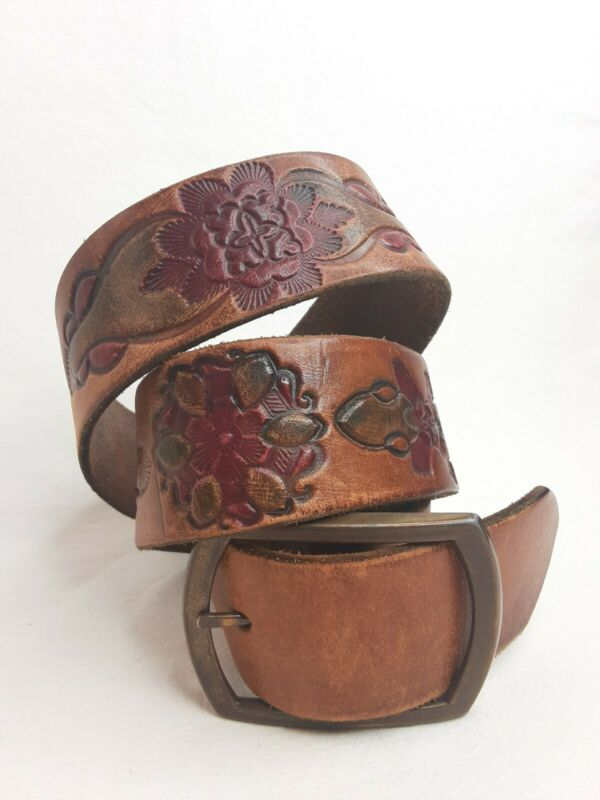 Vintage Tooled Leather Belt Western Floral Embossed Painted Colors Size Medium
