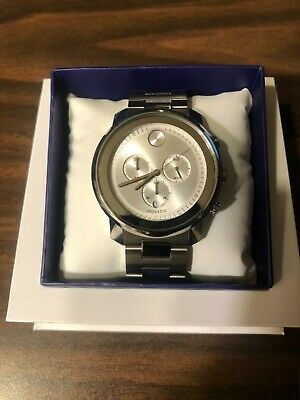 Movado Bold Silver 44mm Chronograph Stainless Steel Watch 3600276, NEW w Tag