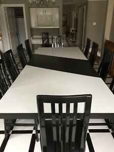 Large 4 foot by 10 foot Dining Kitchen Table 10 Chairs