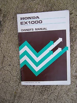 1985 Honda Ex1000 Portable Generator Owner Manual More Manuals In Our Store S