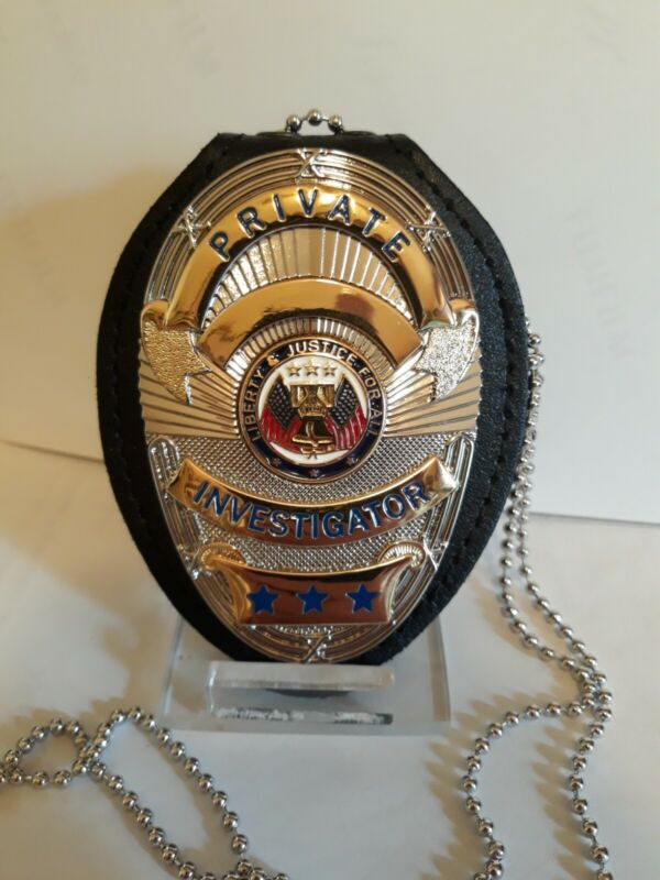 PRIVATE INVESTIGATOR SHIELD with BADGE HOLDER clip on belt neck chain