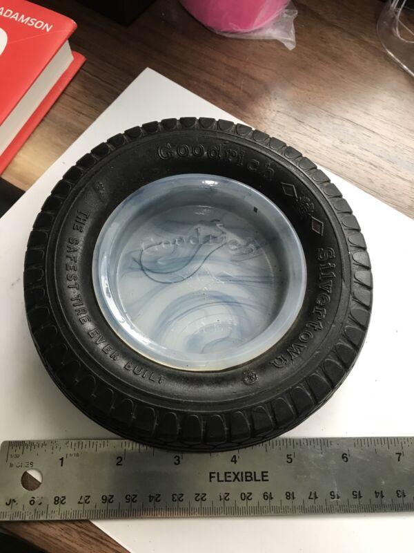 Goodrich Silvertown Tires Ashtray Advertisement w/ Carmel Blue Glass Insert