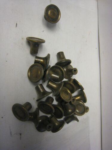 "Lot of 25~Vintage~Solid Antique Brass Cabinet Knobs w/Screws 3/4""D x 3/4H"