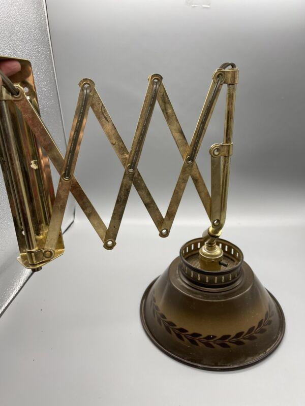 Vtg MCM Mid Century Scissor Accordion Retractable Swing Arm Wall Lamp Lamp 60s