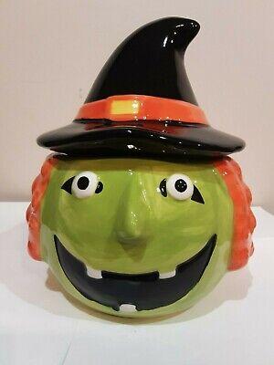 HALLOWEEN GREEN WITCHES HEAD COOKIE JAR