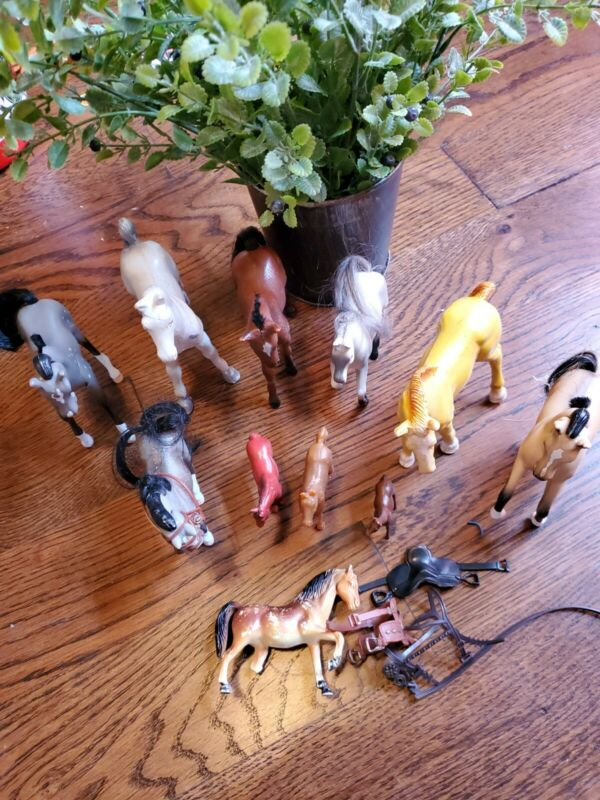 Lot Of 11 Vintage Horse Toys Figurines Collectibles w 3 saddle