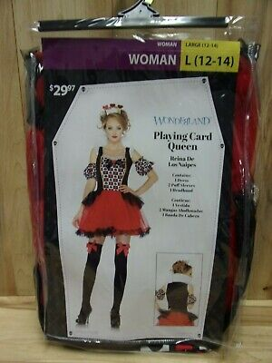 Halloween Costume Playing Card (Wonderland Womans L (12-14) Playing Card Queen 4 Piece Halloween)