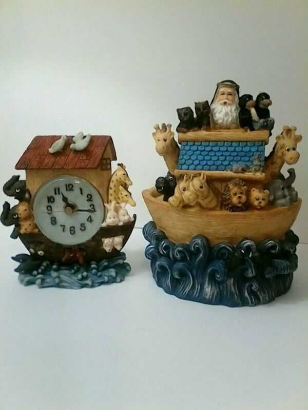 Noah's Ark Coin Money Bank and Clock