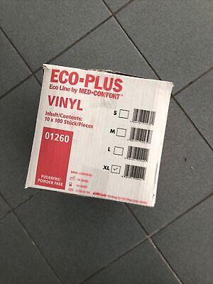 Ampri Eco Plus 10x100 Stück VINYL WEISS Einweg Einmal Handschuhe XL PUDERFREI
