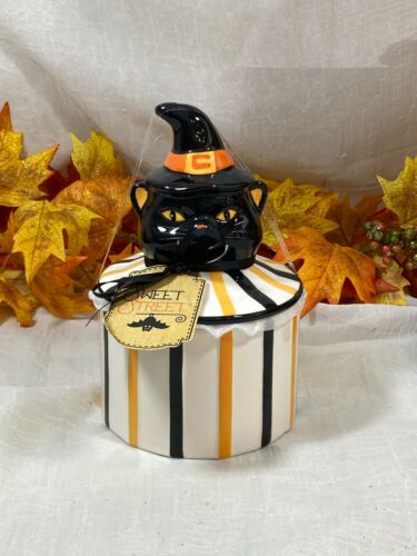 Potter's Studio Ceramic Scary Cat W Witch Hat Halloween Canister Cookie Jar