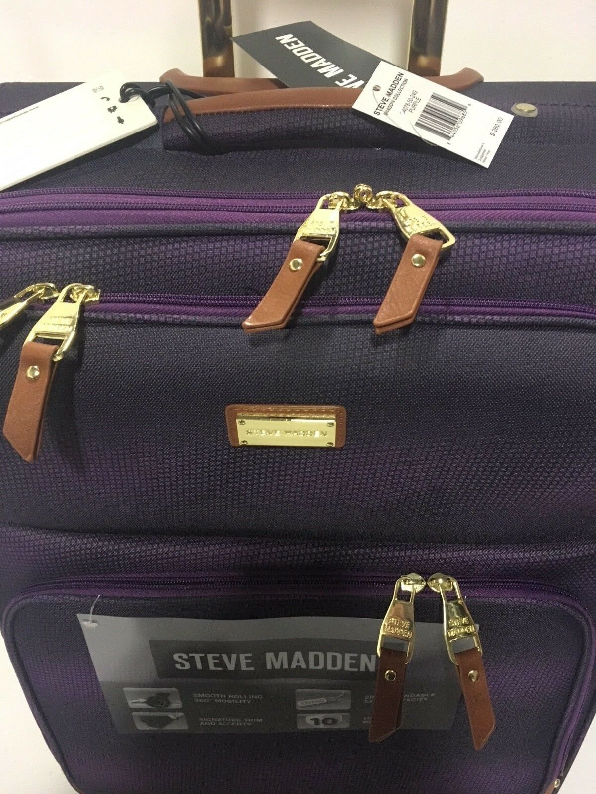 NEW 3PC STEVE MADDEN SPINNER SHADOW COLLECTION LUGGAGE SET 840 PURPLE - $239.95