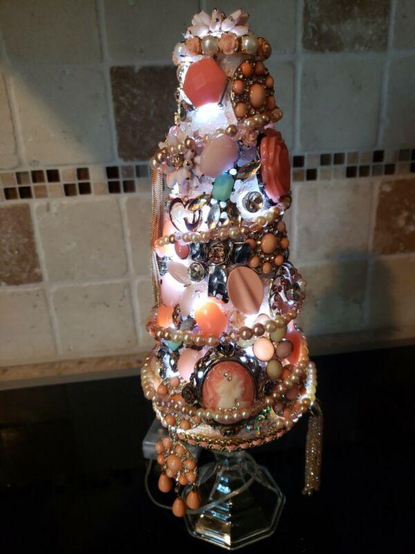 "Handmade~Vintage Jewery Pedestal Christmas Tree~14"" Lighted~Coral/Peach(TSB)"