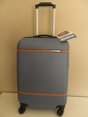 Samsonite Expandable Carry On Spinner Blue Slate-British Saddle Accents, ,NWT