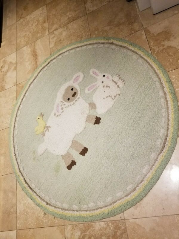 Pottery Barn Kids Cotton Tail Friends Rug EUC