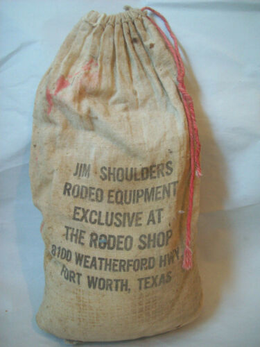 Vintage Rodeo Bull Riding Equipment Resin Bag Jim Shoulders Ft, Worth c. 1960s