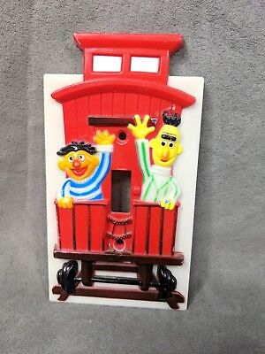 Vintage Sesame Street Bert Ernie Train Caboose Plastic Light Switch Cover 1984