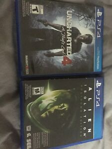 Uncharted 4 and Alien Isolation $25 for Both!!!