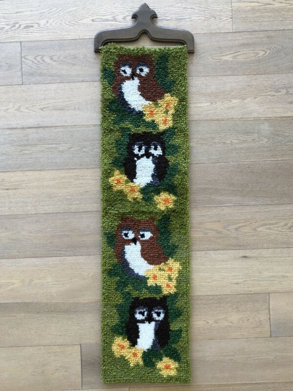 Vintage 1970s Owl Latch Hook Rug Wall Hanging 46 x 13 Ready To Hang
