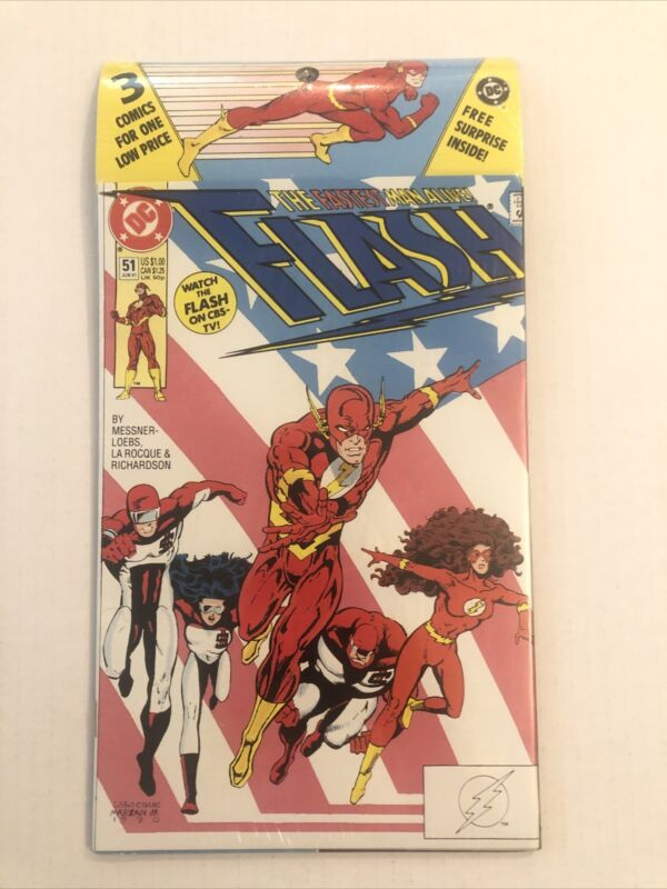 Flash #51  Factory Sealed 3 Comic Pack With Surprise Inside