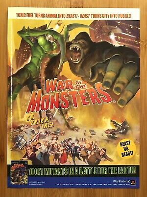 War of the Monsters PS2 2003 Vintage Print Ad/Poster Official Authentic UK Art!