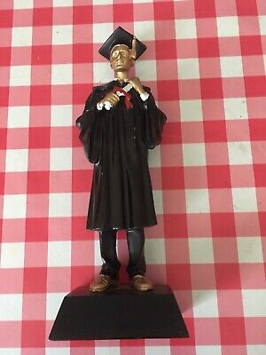 A Wooden Figure Of A Male Scholar Painted 23 Cm High Kitch Vintage
